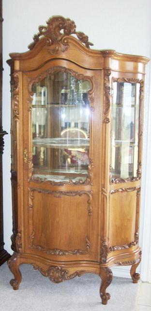 French Louis XV Walnut Glass Cabinet