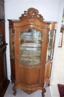 French Louis XV Walnut Glass Cabinet