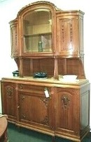 French Louis XVI Walnut Dining Sideboard, Hutch