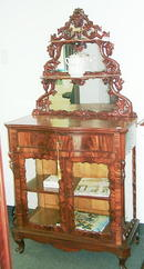 Beidemeier Mahogany glass cabinet with grape
