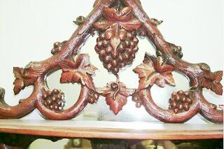 Beidemeier Mahogany glass cabinet with grape
