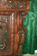 Renaissance hand carved flip down desk