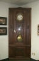 Rare French Oak/ Brass Corner Clock