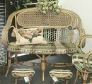 Rare French Rattan Setee and foot stools c