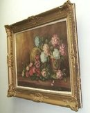 Antique Oil Painting w/ Gesso Frame