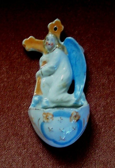 Very Old Angel Holy Water Font of porcelain