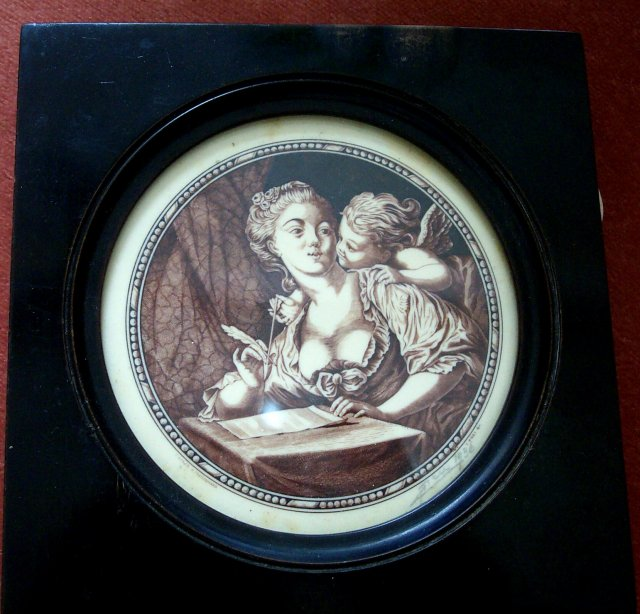 Miniature Signed Etching of a lady with an