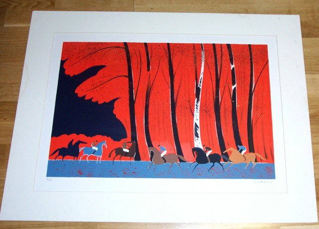 Horses with riders in the woods #9 signed by