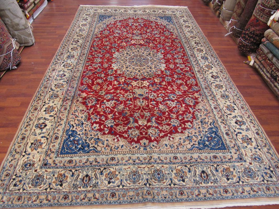 Vintage Silk and wool Persian Nain Rug-3670