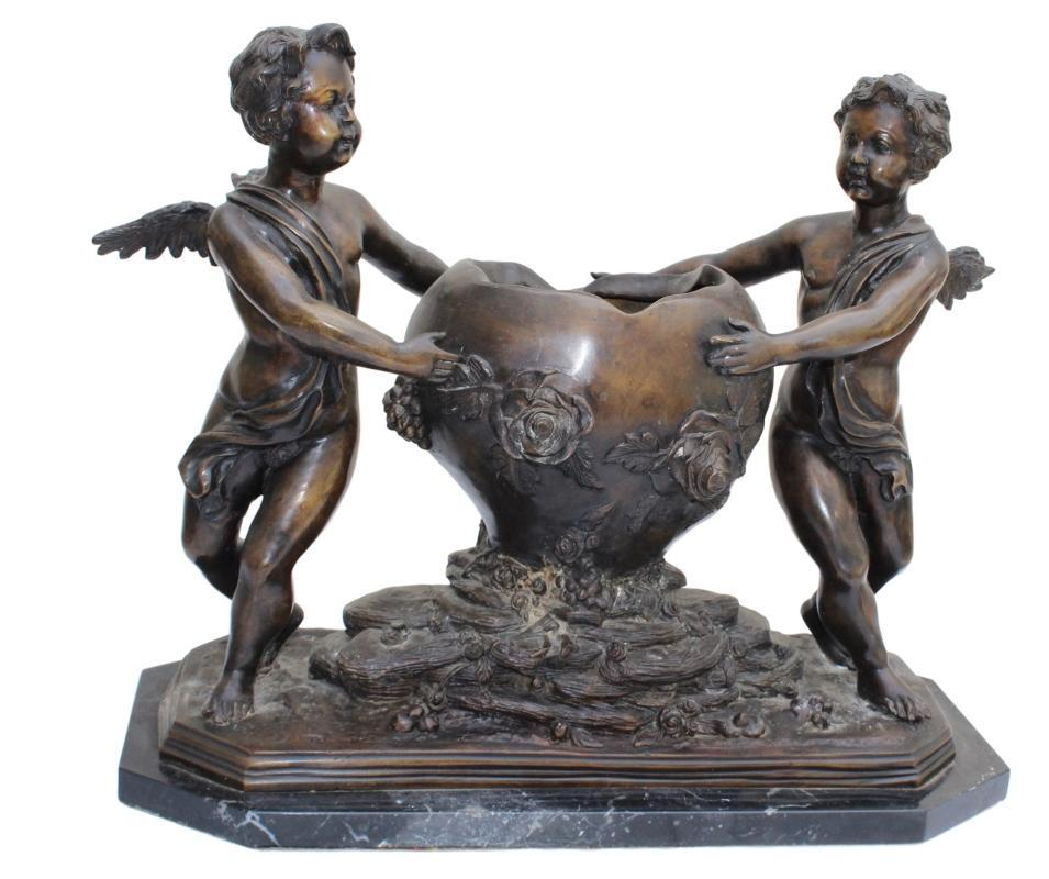 Large Bronze Jardiniere, Putti & Floral Decoration C.1920