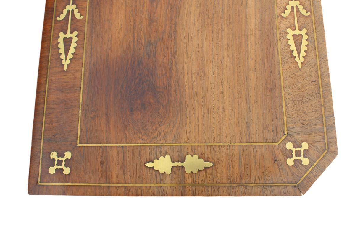 Regency Brass Inlaid Card Table, Rosewood