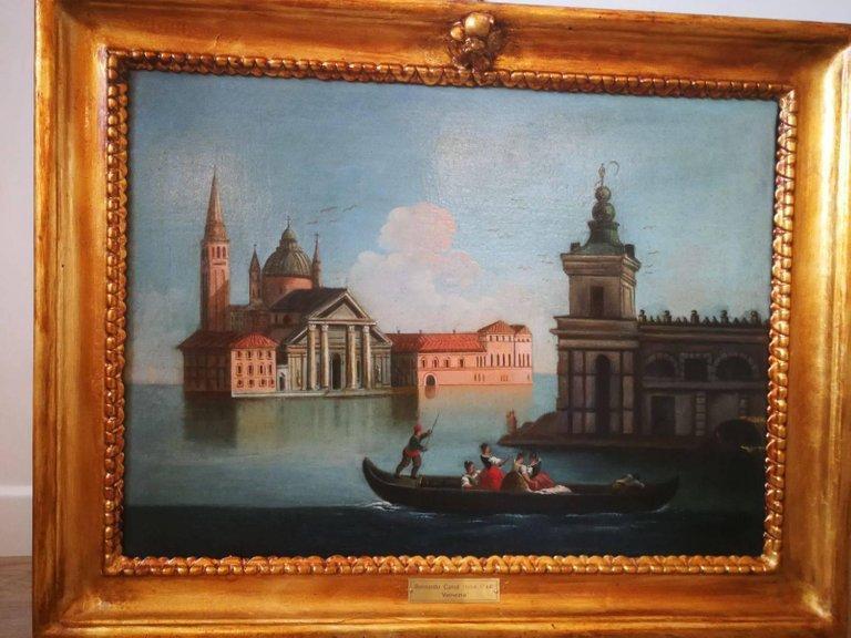 18th Century Bernardo Canal Italian a View of Venice Oil on Canvas Painting