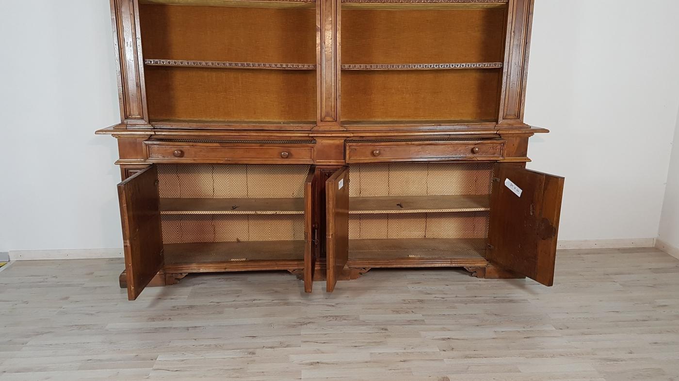 19th Century Italian Walnut Wood Bookcase or Sideboard