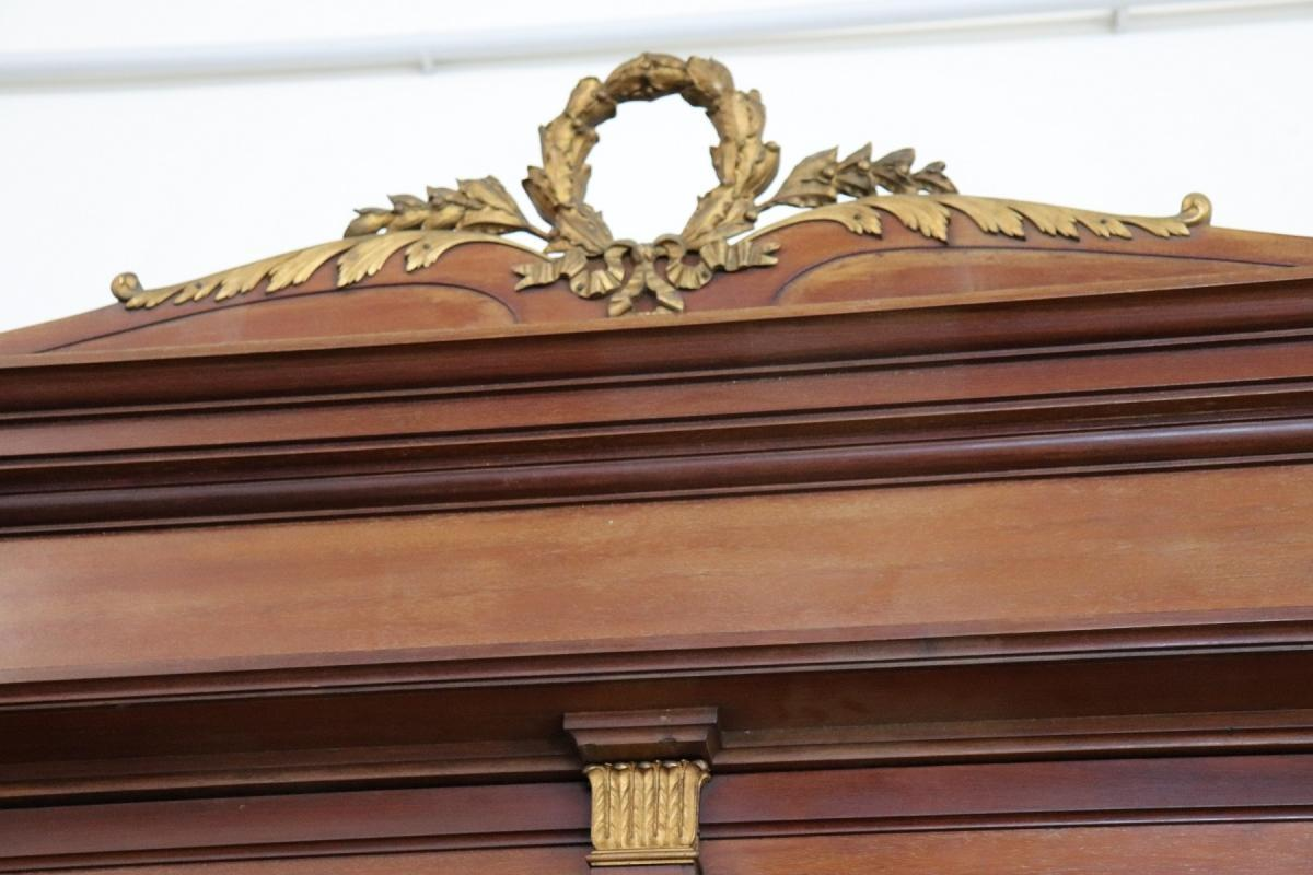 19th Century Italian Empire Mahogany Golden Bronzes Green Marbles Bedroom Set