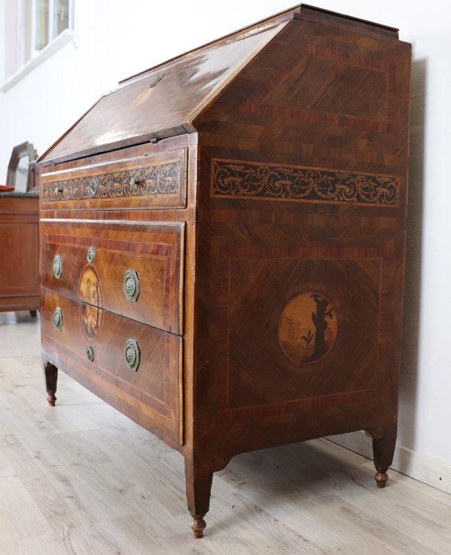 18th Century Italian Louis XVI Inlay Wood Chest of Drawers with Secretaire