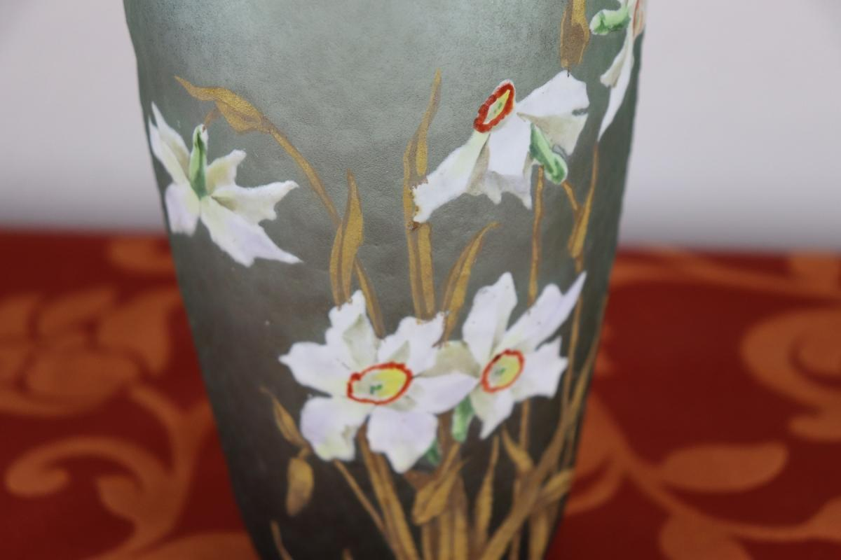 20th Century French Art Nouveau Legras Mont Joye Vase in Frosted Glass