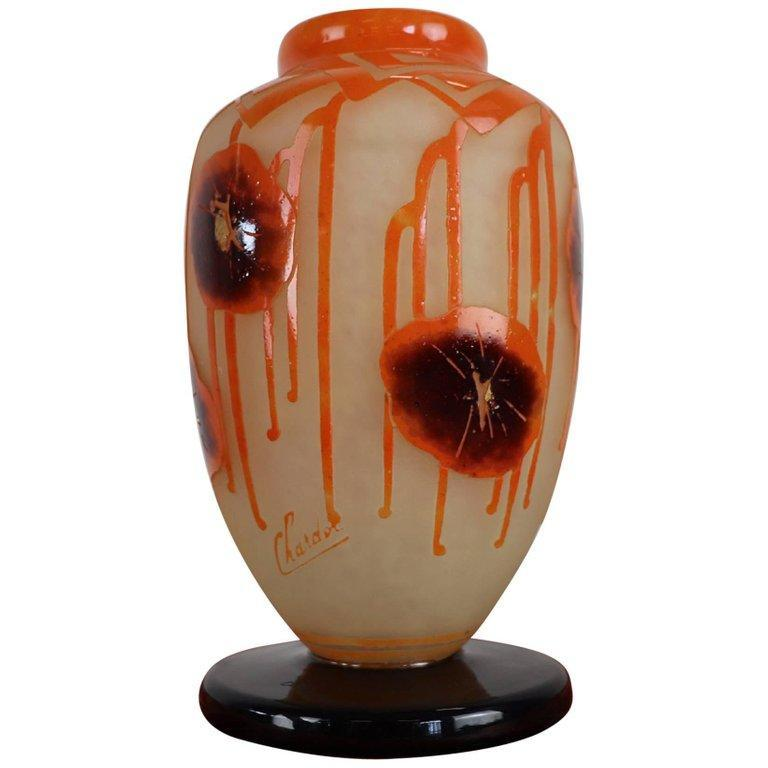 French Art Deco Came Vase by Charles Schneider for Le Verre Francais