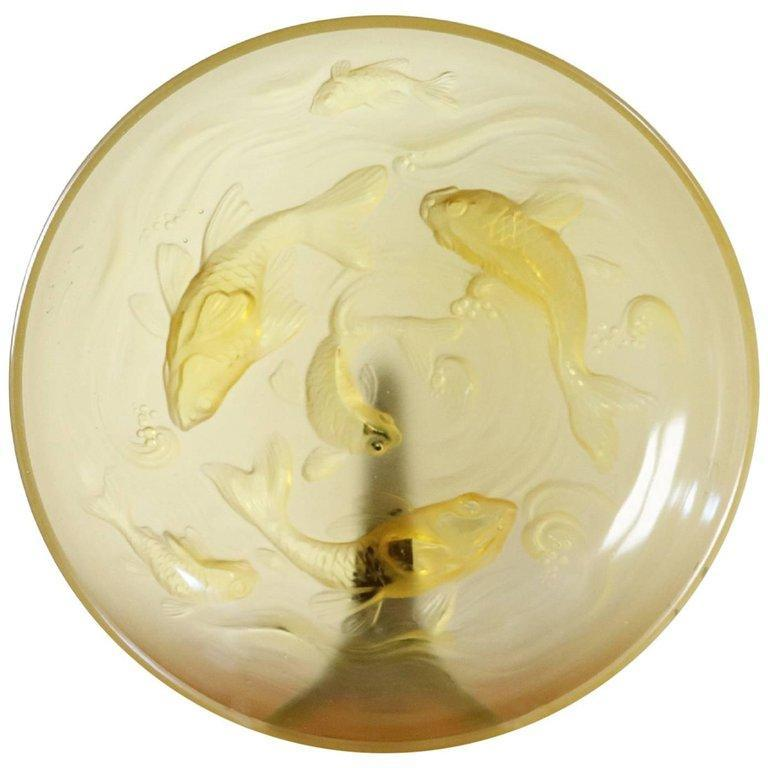 20th Century Art Deco Verlys Glass French Plate in Amber Colored with Fishes