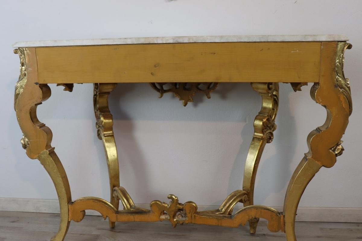 20th Century Italian Baroque Style Carved Gilded Wood Console Table with Mirror