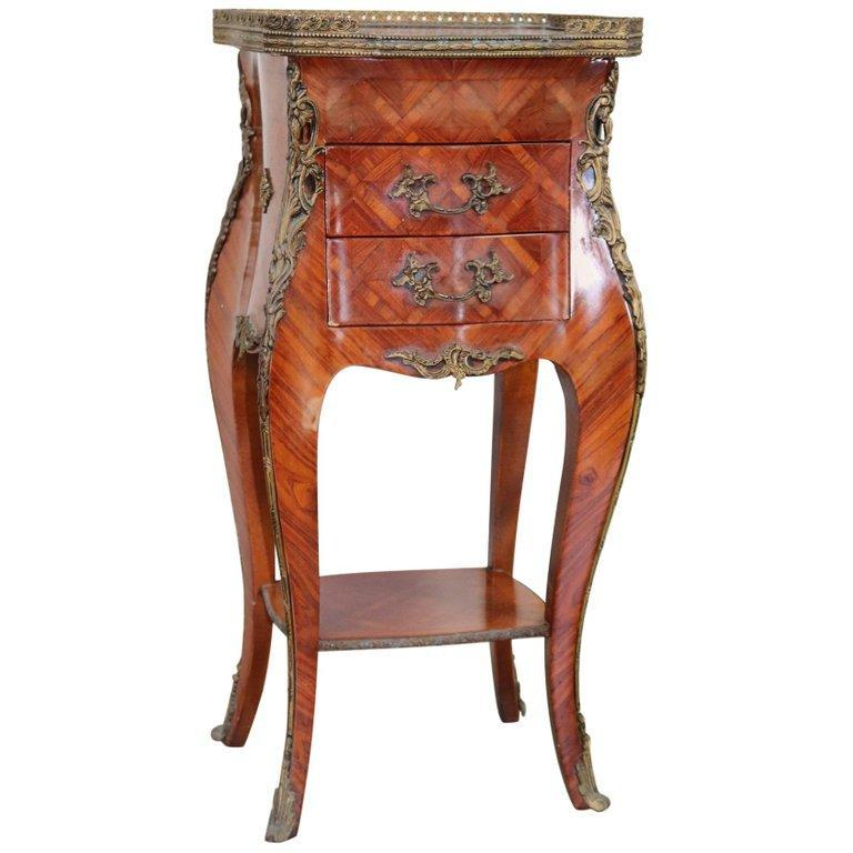 20th Century French Louis XV Style Bois De Rose Side Table or Nightstand