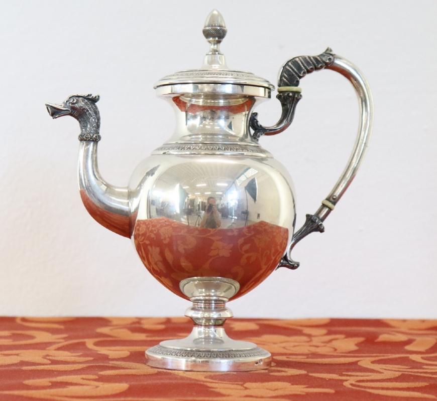 20th Century Italian Empire Style 800 Silver Tea and Coffee Service