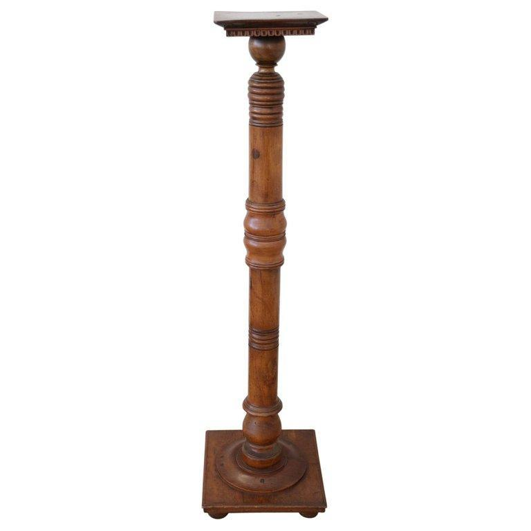19th Century Italian Antique Column in Turned Walnut