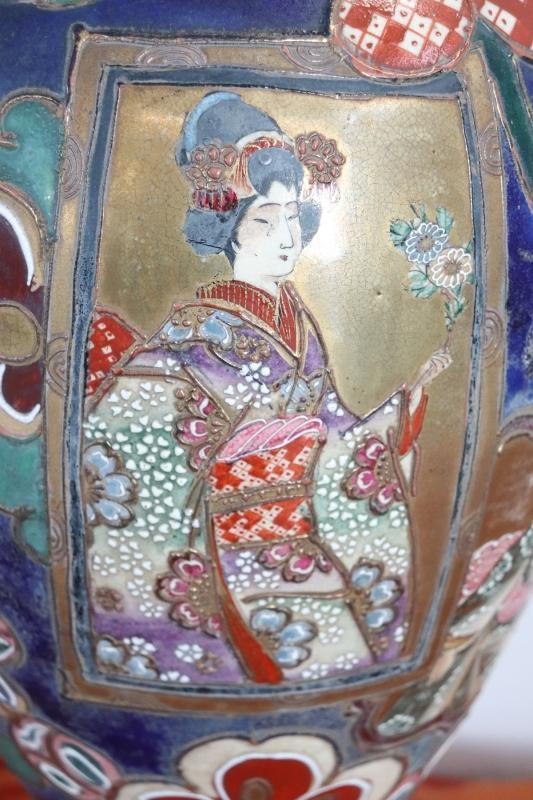 20th Century Japanese Vintage Artistic Satsuma Vase in Decorated Ceramic