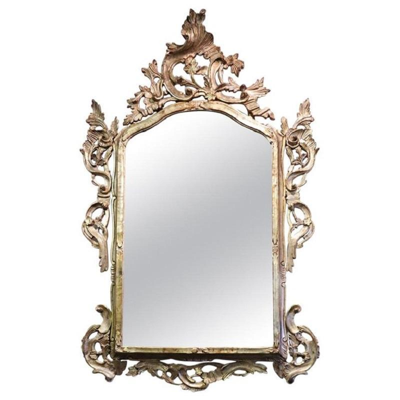20th Century Louis XV Style Silvered Wood Antique Wall Mirror