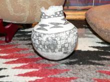 Anasazi Snow Flake Ware Black on White Olla