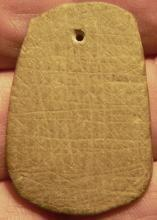 Native American High Desert Archaic Basket Maker Green Schist Finely Etched Trappazoid  Pendant