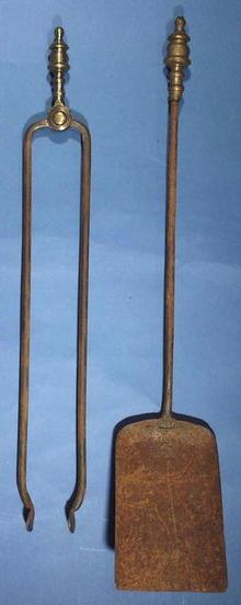Fireplace Tools, Shovel & Tongs brass and iron c.1780-1800