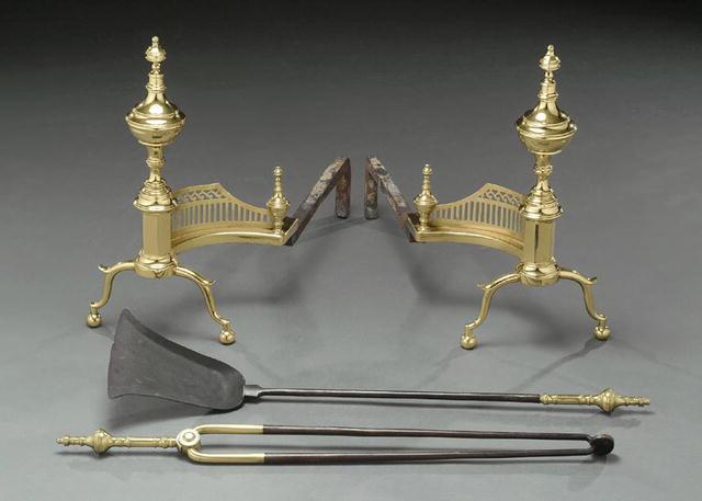 Andirons, Brass & Iron, Pierced Galleries, American, c.1780