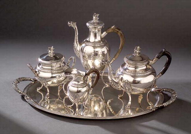 Tea Set, Silver solid, French, c.1880