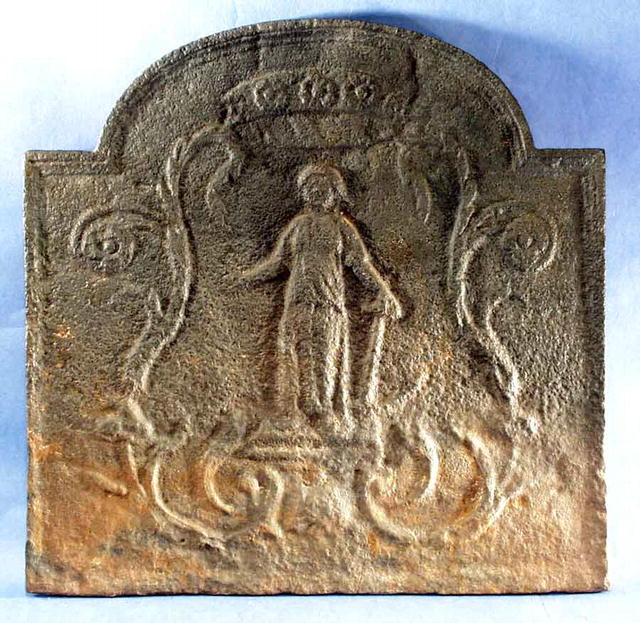 Fireback, Cast Iron, European, Lady with anchor, 18th C.