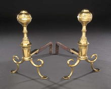 Andirons, Brass & Iron, Philadelphia, Ball top c.1810