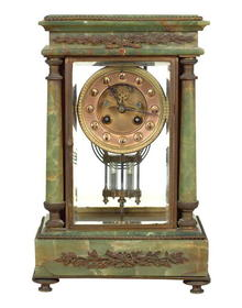 Clock, Mantel, French, Onyx & Bronze, c.1890-1910