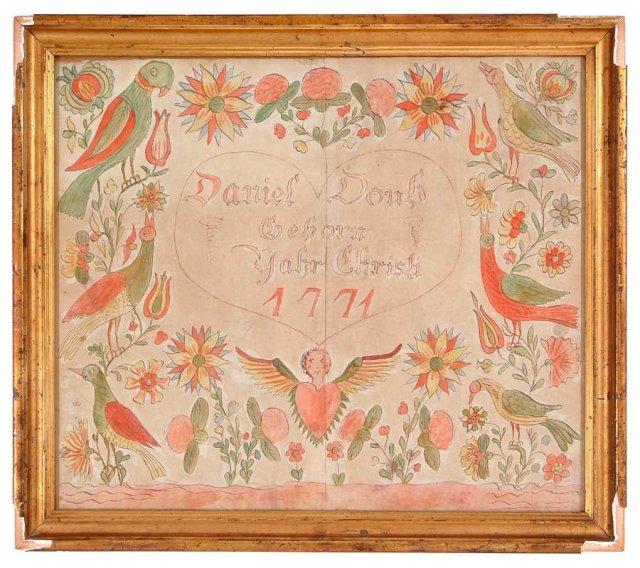 Fraktur, Pennsylvania Dutch, dated 1771