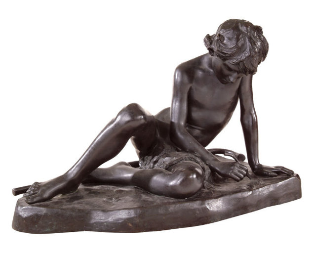 Sculpture, Bronze, Shepherd Boy, American, Kate Lizard c1890