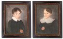 Pictures, A Pair, Watercolor on Parchment, Two Boys c.1820