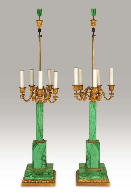 Lamps, A Pair, Malachite & Bronze, French c.1920