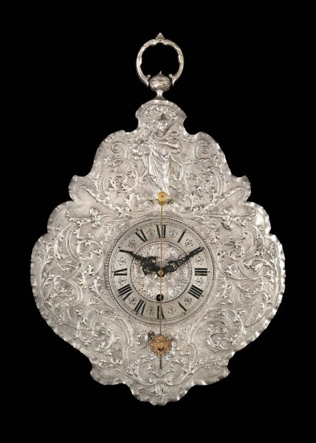 Clock, Wall, German, Teleruhr Silver & Brass c.1850