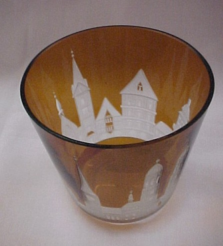 Amber Bohemian Glass Tumbler