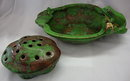 Weller Pottery Coppertone Flower Frog and Bowl