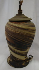 Mission Ware Swirl Lamp base - Niloak? Evans? Desert Sands?
