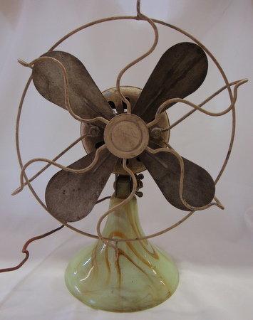 Slag Glass Electric Fan Akro Agate?
