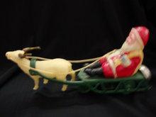 Celluloid Santa on Tin Sleigh - Key wind Toy