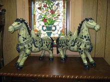 Horse statues- porcelain-Blue Delpht Style