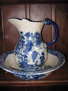 Pitcher & Bowl Flow Blue Porcelain