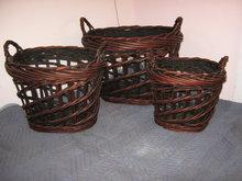 Baskets Wicker, Set of 3 Round, large