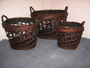 Baskets Wicker, Set of 3 Round, large
